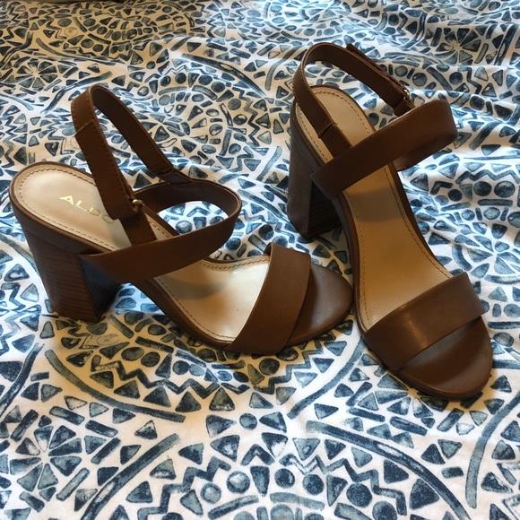 Brown block-heel sandals with straps